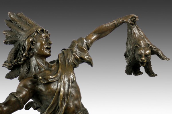 Bronze sculpture - Native American with bear - from Carl Kauba