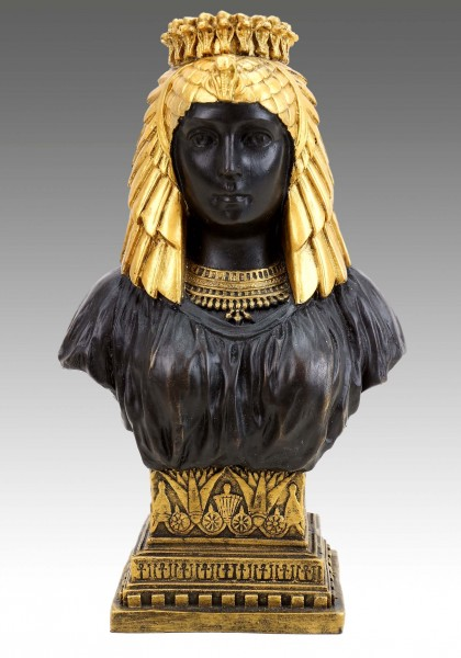 Egyptian Cleopatra Bust - Greek Statue - signed Milo