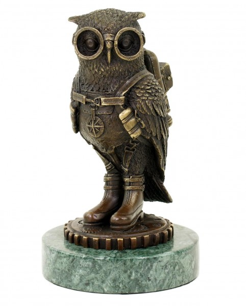 Steampunk Owl / Eagle Owl / Bird - Animal Figurine - signed M. Klein