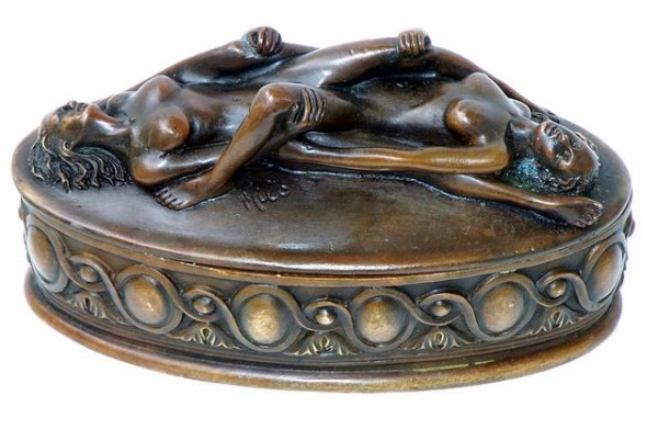 Erotic Bronze tin - The Lesbian Couple, after Milo, signed
