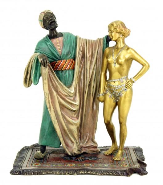 Erotic Nude - Slave Trader with Nude Female Slave - Bergmann Stamp