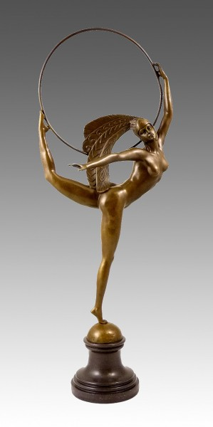Art Deco Bronze Dancer on marble base - by J.P. Morante