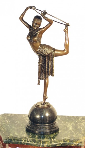 """Art Deco Bronze """"Dancer with Ring"""" on marble base by Chiparus"""
