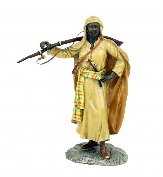 Vienna Bronze Figurine - Arabian Warrior with Rifle - Bergmann Stamp