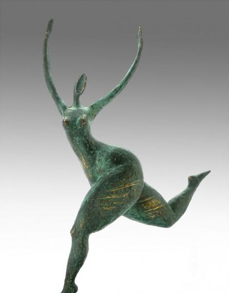 Modern Art Nude running Bronze Abstract signed Milo