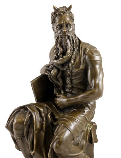 Bronze Figure - The Moses of Michelangelo - signed Michelangelo