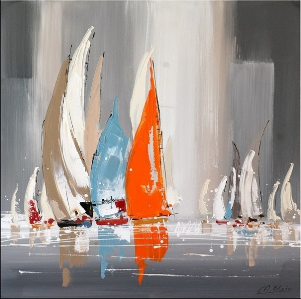 Sailing Regatta I - Abstract Acrylic Painting - M. Klein