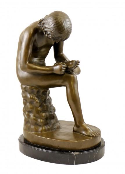 Art Nouveau Bronze Sculpture - Boy with Thorn - signed Milo