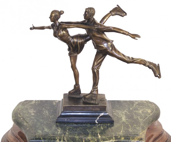 """Art Deco Bronze """"Dancers on Ice""""- Ice Skater on Marble, signed"""