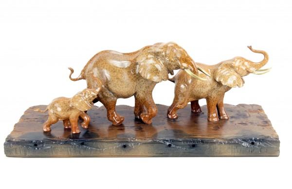 Bronze Family of Elephants on Ship Plank - Animal Figurine by Milo