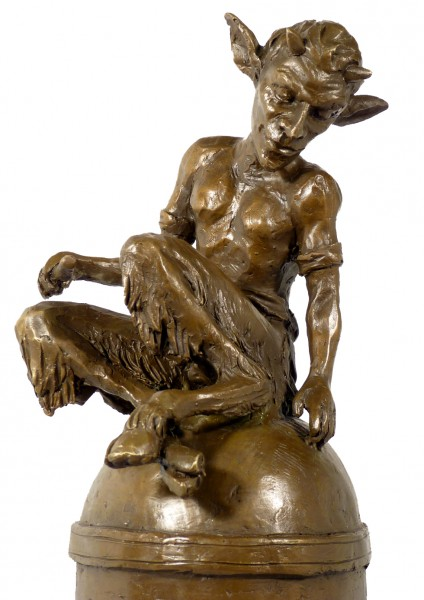 Fancy bronze figurine Sitting Faunus - Satyr signed Milo