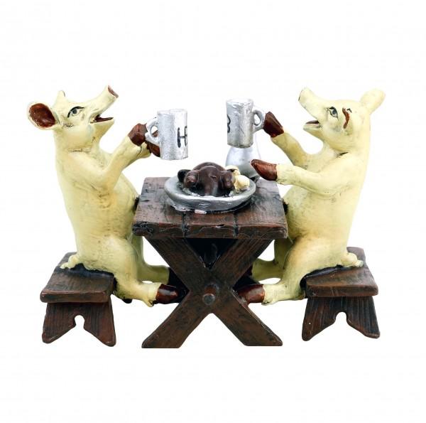 Hofbräu Pigs Eating a Roast Goose - Vienna Bronze - Funny Animal Figurine