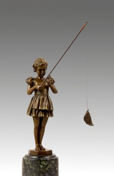 Beautiful Art Deco statue - Girl with fishing rod - F. Preiss