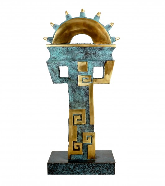 Limited Bronze Sculpture - Aztec Column - Signed Martin Klein