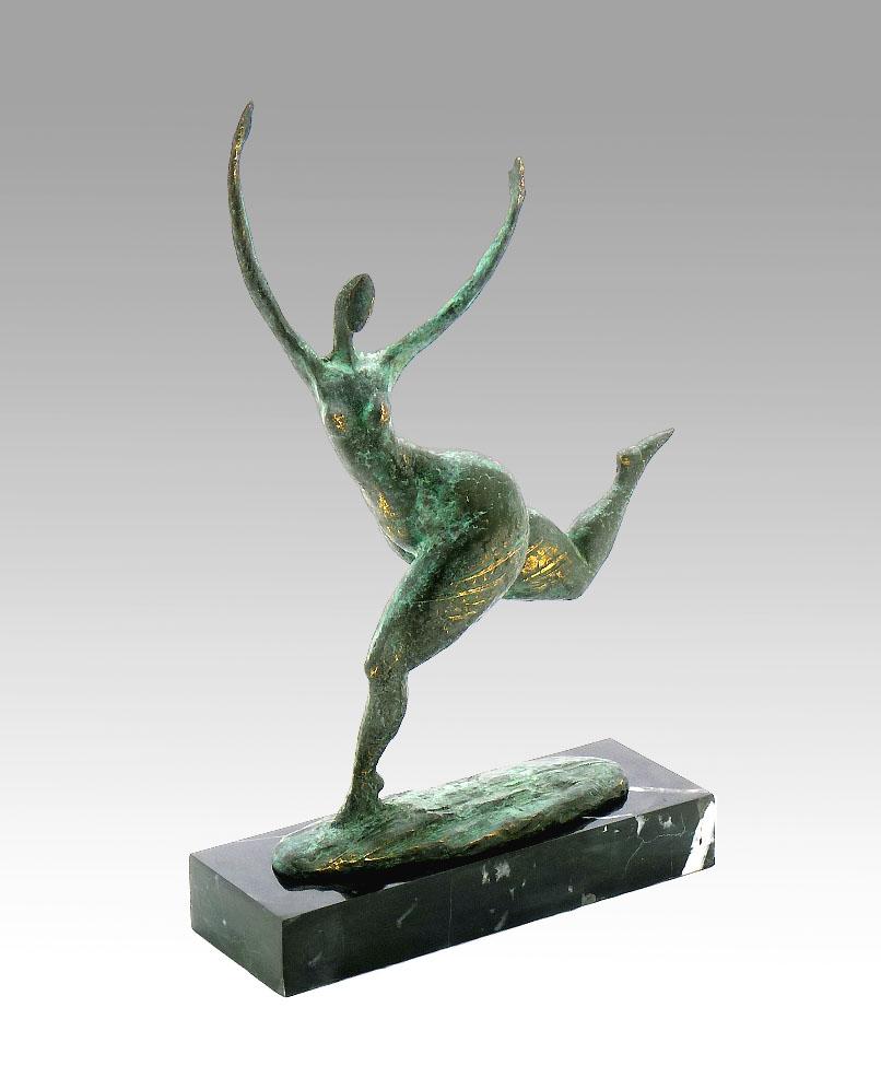 Modern Art Nude running Bronze Abstract signed Milo