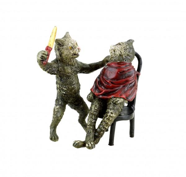 Vienna Bronze - Cat at the Hairdresser - Stamped - Hand-Painted Figurine