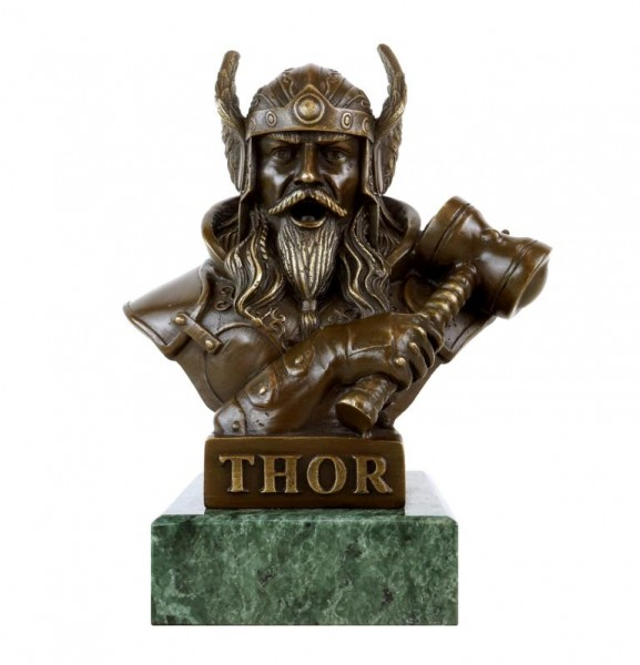 Thor bronze Bust - God of Thunder - Bronze Viking Figurine -  signed