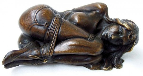 Erotic bondage Bronze, gagged nude woman, SM - signed by Milo