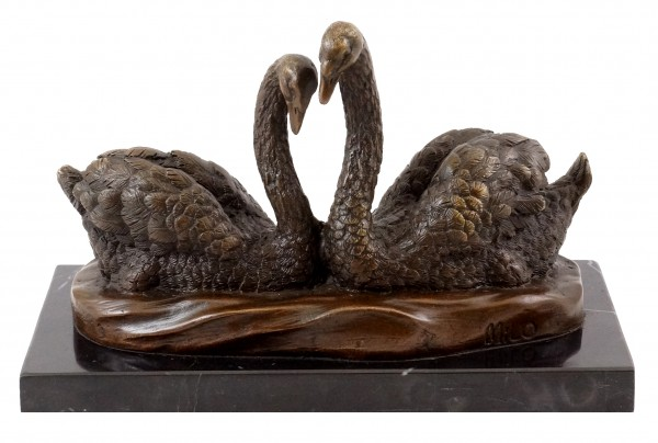 Animal figure - Swan Couple - signed by Milo