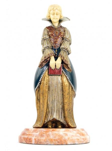 Art Deco Bronze Statue - Jeune femme au livre - signed Chiparus