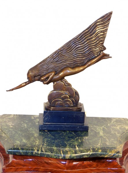 Art Deco Bronze (The Comet) on Marble signed Guiraud Riviére