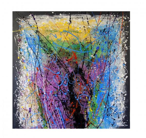 Fireworks - Modern Art Acrylic Painting, signed Martin Klein