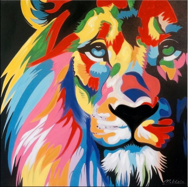 Colourful Pop Art Lion - Modern Acrylic Painting