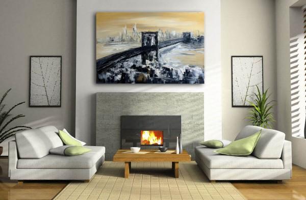 Oil Painting - Brooklyn Bridge in New York - signed - M. Klein