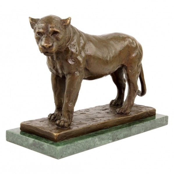 Nubian Lioness - signed Rembrandt Bugatti - limited Animal Bronze