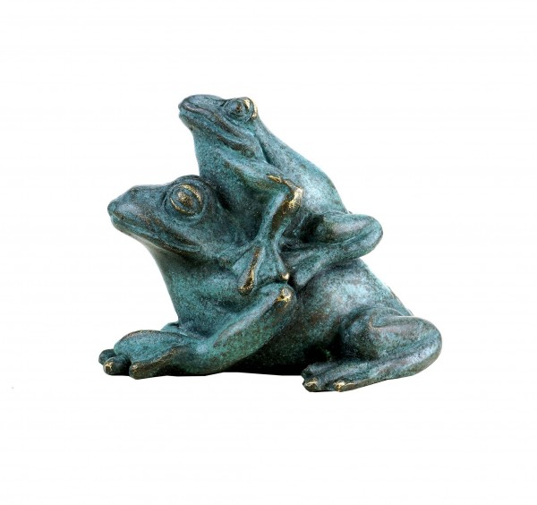 Bronze Frog Couple - Animal Figurine - Green Patina - Signed Milo