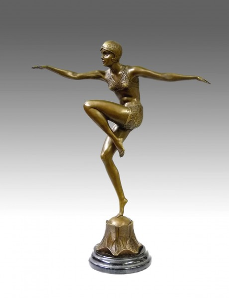 Art Deco Bronze Dancer - Con Brio - signed F. Preiss