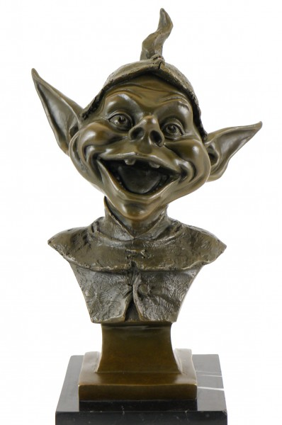 Bronze Head of Garden Gnomes - signed by Juno - Marble Base
