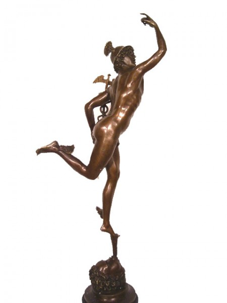 Hermes Bronze - Giambologna, on Marble- Greek Mythology
