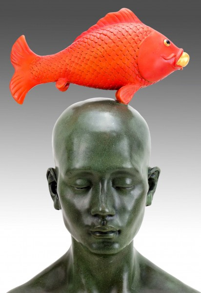 Modern Bronze Figurine - Man With Lucky Koi - sign Martin Klein