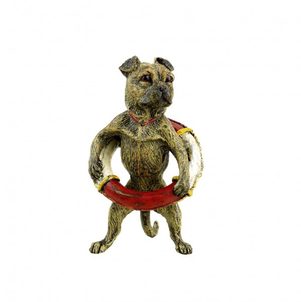 Pug With Lifebelt - Vienna Bronze - Stamped - Dog Figurine