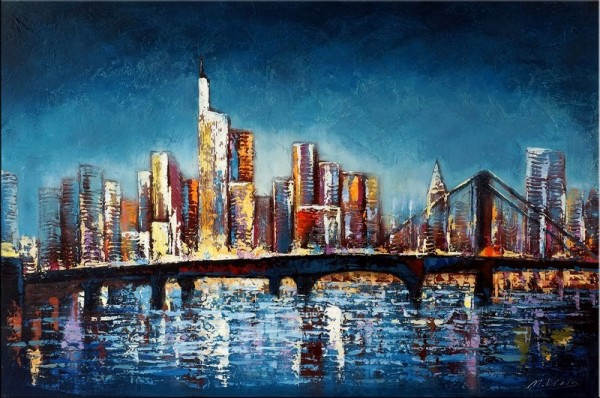 Frankfurt am Main Skyline - Night View - Abstract Oil Painting