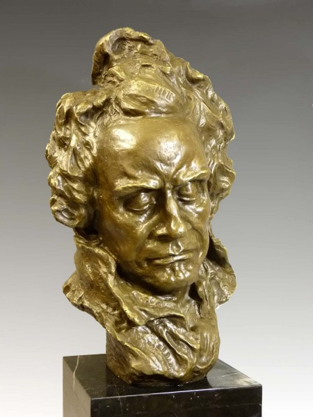Giant bronze bust - Ludwig van Beethoven - signed A. Pina