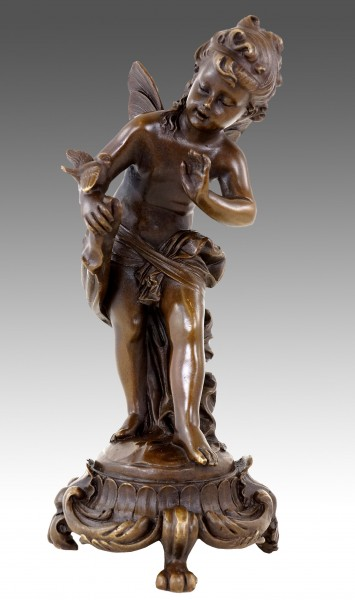 Art Nouveau Bronze Sculpture- Fairy with Birds - sign. Moreau