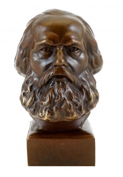 Bronze Head - Karl Marx - signed by Gladenbeck