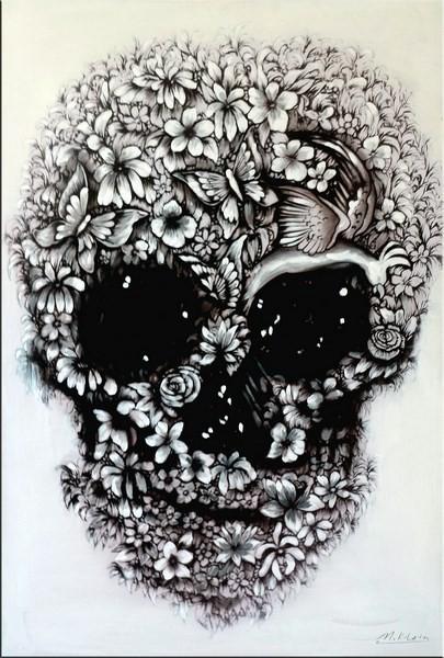 Flower Skull black and white - Modern Acrylic Painting