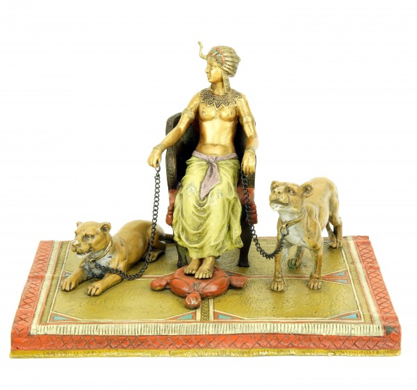 Erotic Nude - Pharaoh with Lionesses - Bergmann - Carpet Bronze