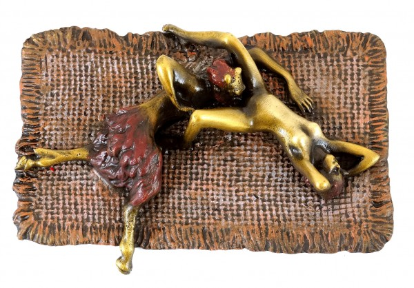 Erotic Bronze - Faun satisfied Virgin - Real Bronze