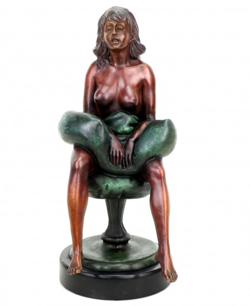 Erotic Girl Betty - Signed J. Patoue - Erotic Bronze Sculpture