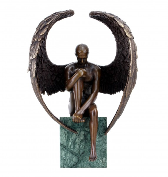 Angel Nude Figurine - Contemporary Bronze Male Nude - Erotic Angel