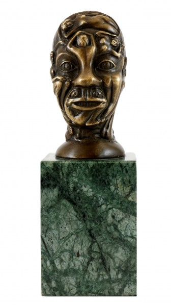 Bronze Figure - Head with relief-like Female Nudes - M. Klein