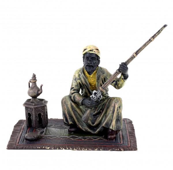 Vienna Bronze Arab Figurine - Arabian Warrior on Carpet - Bergmann