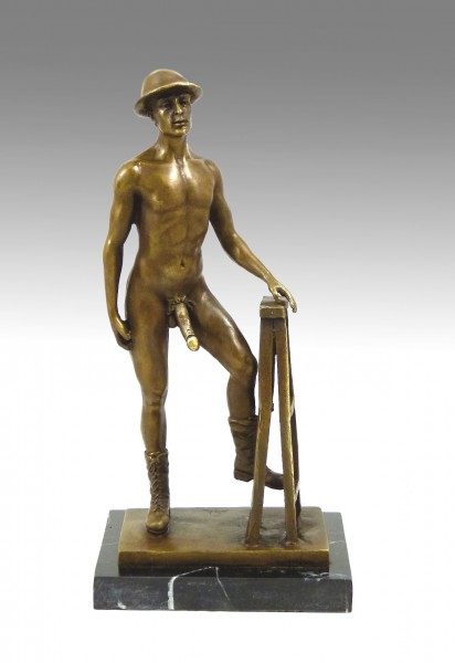 Erotic Sculpture- Naked man, wearing Shoes and hat- by M. Nick