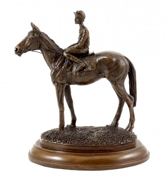 Bronze figure - Jockey / Bronze Horse - sign. Milo