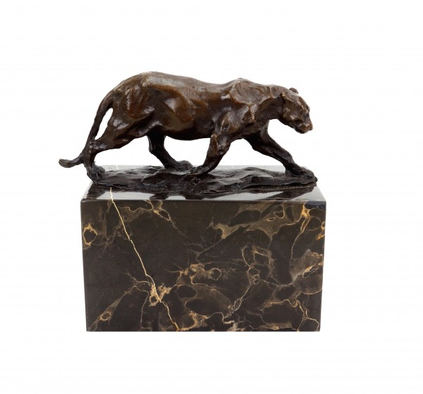 Walking Panther (1904) - Signed Bugatti - Bronze Animal Figurine