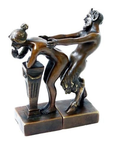 Erotic Vienna Bronze Couple, Satyr and Virgin, 2piece, Bergmann